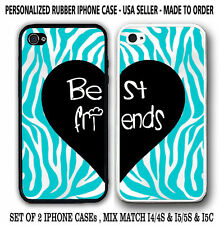 TEAL TURQUOISE ZEBRA BLACK HEART BFF Best Friends CASES For iPhone 6S 6 5S 5C 4S