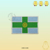 DERBYSHIRE County Flag Embroidered Iron On Sew On Patch Badge For Clothes Etc