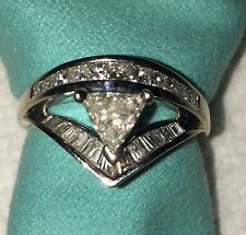 14k White Gold Triangle Shaped Diamond Ring Size 6 Baguettes Rounds