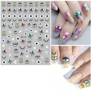 Nail Art Stickers Halloween Eyes Eyeballs Eyelashes Moon Stars Eye (WG136)