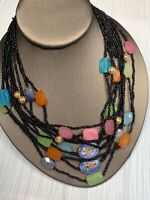 Women's Ladies Necklace Seed bead Bohemian multi strand Multi Color Black