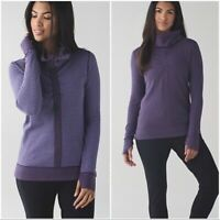 Lululemon In a Cinch Sz 6? Reversible Cowl Neck Pullover Sweater Thumbholes