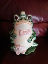 Vintage Green Frog Ceramic Cookie Jar