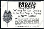 1930 Braxmar Badges Washington DC fire Chief badge art vintage trade print ad