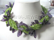 "K1110-18"" 7row natural peridot and amethyst necklace - shell clasp"