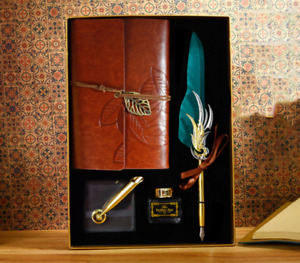 Vintage Feather Calligraphy Pen Leather PU Journal 6-Holes Ring Binder Gift Box