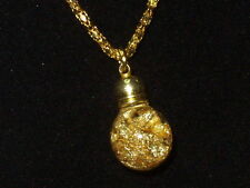 FLOATING 24K GOLD FLAKES SNOW GLOBE PENDANT NECKLACE