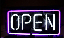 """Business Shop Open Purple Neon Sign Beer Bar Gift 14""""x7"""" Light Lamp Bedroom"""