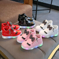 Kids Baby Infant Shoes Girls Crystal Bowknot LED Boots Sport Zip Shoes Sneakers