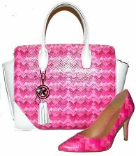 KAZAR White/Pink LeatherTote Handbag and Shoes 8M Set NWT