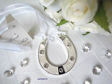 ~*~Ivory Horseshoe & Crystals Wedding Good Luck keepsake Charm ~*~