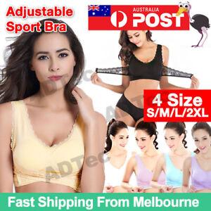 Women Front Cross Adjustable Side Buckle Lace Vest Wireless Sport Bra Comforts