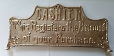 National Cash Register Brass <7 Inches> TALL Top Sign Model 2,3,33,7,8 Scroll