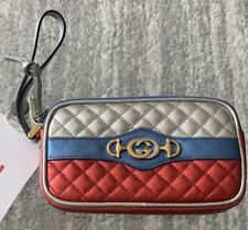 NIB Gucci SILV/RED quilt leather TRAPUNTATA Zumi buckle WRISTLET