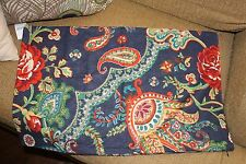 NEW Pottery Barn Isla Floral Paisley Lumbar Pillow Cover Navy Blue 16 x 26