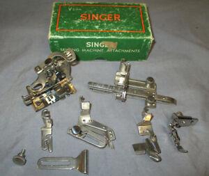 Vintage Singer 66 201 15-91 99 221 Sewing Machine Low Shank Attachment Set Box