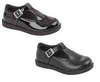 Girls School Shoes Black T Bar Shoe Patent & Synthetic with Buckle UK 6-12