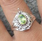 925 Solid Silver Balinese Poison/Locket Ring Peridot Cut Size 6-H65