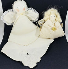 Doily Angels Lot of 2 Christmas Ornaments Decor Lace Ivory Cream White