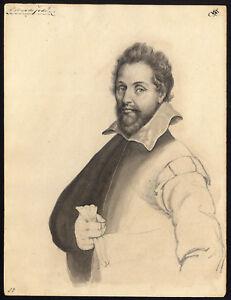 Antique Drawing-PIETER DE JODE I-PORTRAIT-ENGRAVER-Anonymous-1649