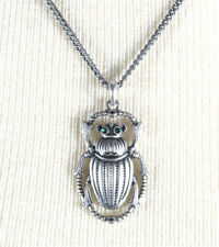 Lucky Brand  Small Scarab Beetle Pendant Silver-Tone Necklace $39 NEW