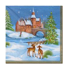 4 lose Motivservietten Servietten Napkins Weihnachten Winterdorf (335)