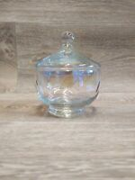 Vintage West Virginia Glass Iridescent Covered Candy Dish