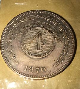 PARAGUAY COPPER COIN 4 CENTESIMOS 1870 RARE