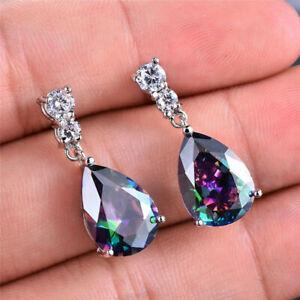 fashion Mystic Teardrop Rainbow Drop Dangle Hook Zirconia Earring Silver Jewelry