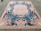 Old Hand Made French Design Aubusson Wool Pink Blue Original Aubusson 304X240cm