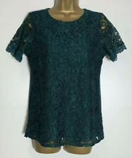 Dorothy Perkins Green Jersey Lined Lace Top Size 12 New