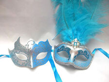 Silver Aqua Blue Man Woman Prom Masquerade Mardi Gras Mask Combo Couple Masks