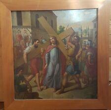 VIA CRUCIS staz. II Gesù è caricato della Croce  olio su metallo  cm 51x55