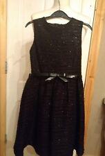 LITTLE GIRLS BLACK SPARKLE TWEED PARTY DRESS AGE 9-10