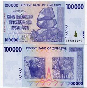 Zimbabwe 100 000 Dollars Money Banknote UNC P75 AA Prefix Inflation Currency