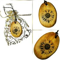 Sunflower Necklace Handmade Wooden Engraved  Pendant Wood Jewellery Gift