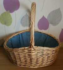 "Retro Lined Wicker Basket Woven Picnic Basket  - Flowers, Fruit, Display - 18"" H"