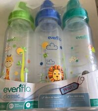 Evenflo 3 Pack Baby Bottles Classic Colored lids , 8 Ounce (Jungle)- New