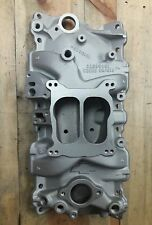 Chevy bow tie 4bbl performance aluminum racing intake manifold zz4 5.7 gm sbc350