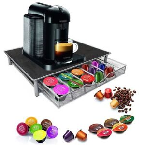 COFFEE MACHINE STAND & CAPSULE POD STORAGE HOLDER DRAWER NESPRESSO DOLCE GUSTO