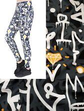 Soft Matte Fabric Graffiti Print Leggings Trousers One Size (UK 8-12)