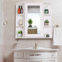 Wall Mount Mirror Cabinet Storage Bathroom Cupboard w/ Single Door and Shelves