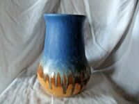 Vintage Ruskin Stoneware Pottery Blue & Orange Glazed Vase 1930s