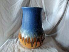 Vintage Ruskin Stoneware Pottery Blue & Orange Glazed Vase 1930s