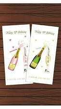 Personalised Birthday Champagne Money Gift Voucher Wallet Card & Envelope