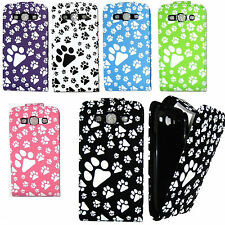 ANIMAL DOG CAT PAW FOOT PRINT LEATHER FLIP CASE COVER FOR VARIOUS PHONES