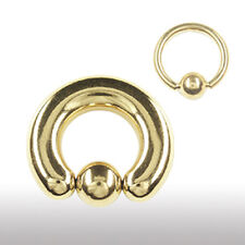 4,0mm Gold Klemmkugel Ring Septum Ohr Brust Intim Piercing D:10 - 25mm vergoldet