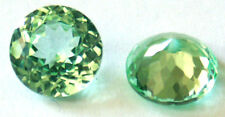A pair of 6 mm Fancy Double Round brillant cut Light green Created Spinel