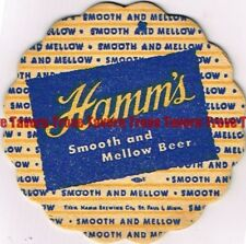 "Original 1940s MINNESOTA St Paul HAMM'S BEER Die Cut 4"" Coaster"
