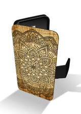 Wooden Mandala Flower Aztec Mayan Tribal Art Wallet Leather Phone Case